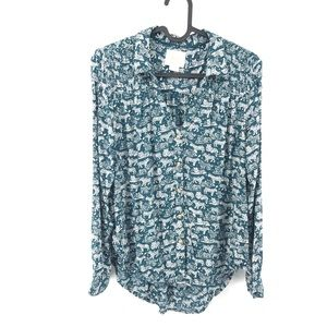 Tiger Print Green Maeve Button Up Size 0